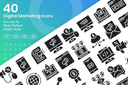 Conjunto de 40 Íconos de marketing digital - Glifo