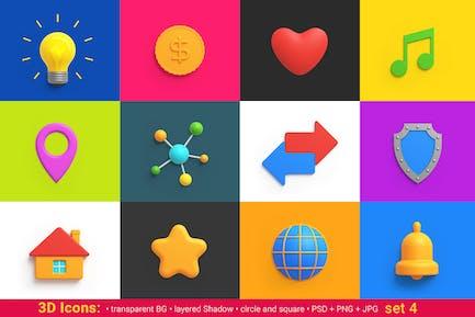 Icons Pack 3D -Stil Universal Freundlich