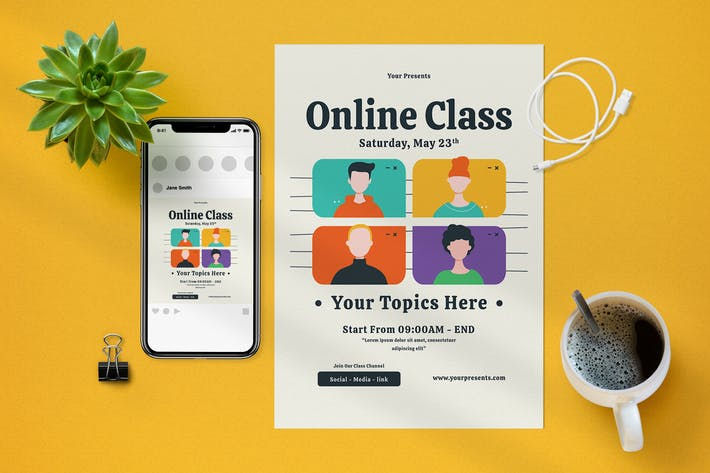 dépliant de classe en ligne