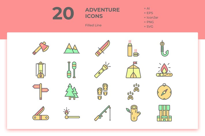 Thumbnail for 20 Adventure Icons (Filled Line)