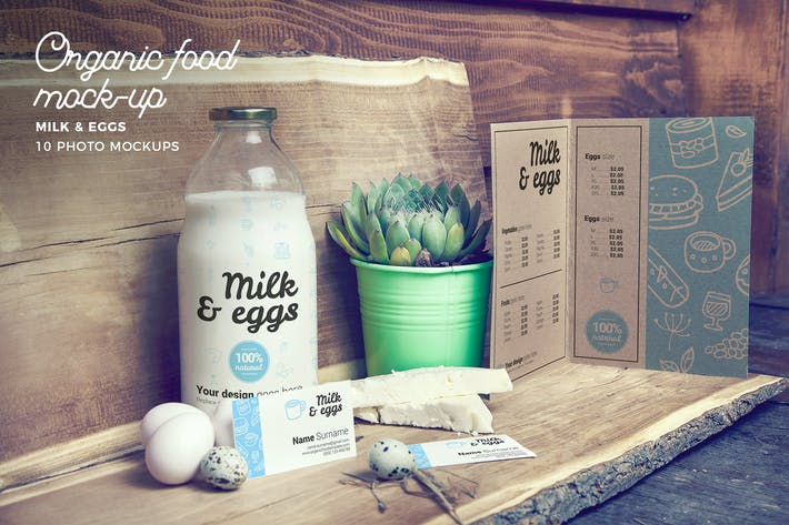 Thumbnail for Organic Food Photo Mockup / Milk & Eggs