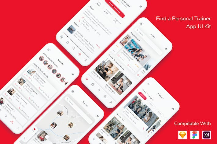 Thumbnail for Find a Personal Trainer App UI Kit