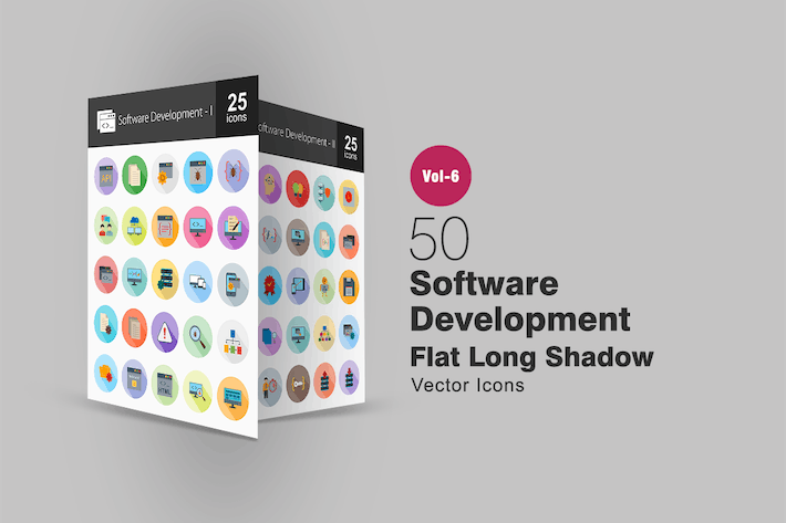 Thumbnail for 50 Software Development Flat Shadowed Icons