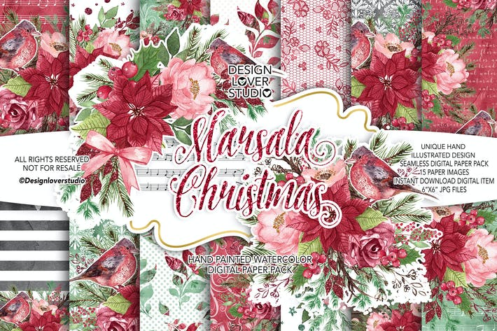 Thumbnail for Marsala Weihnachten Digitalpapier Pack