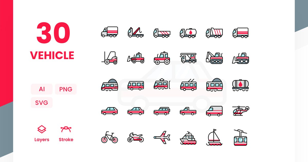 Download Vehicle - Icons Pack (Color) by Zomorsky