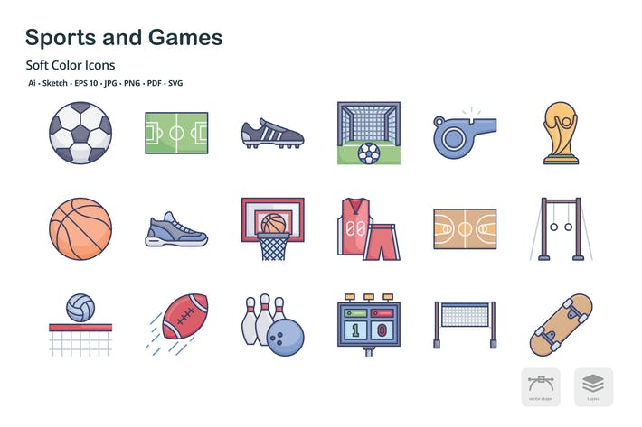 Thumbnail for Sports and games soft color icons