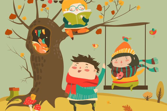 Thumbnail for Happy kids ride on a swing in the autumn forest.