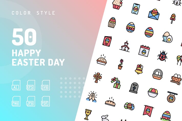 Thumbnail for Happy Easter Day Color Icons