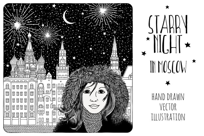 Thumbnail for Starry Night In Moscow - Hand Drawn Vector Drawing