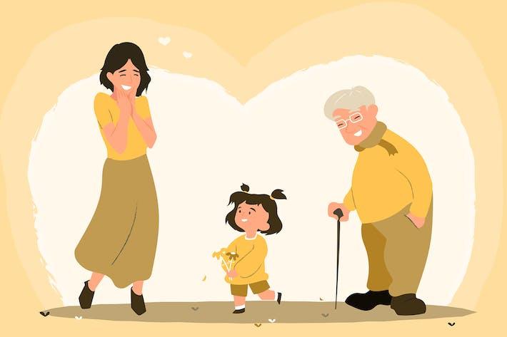 3 generations - Flat Illustration