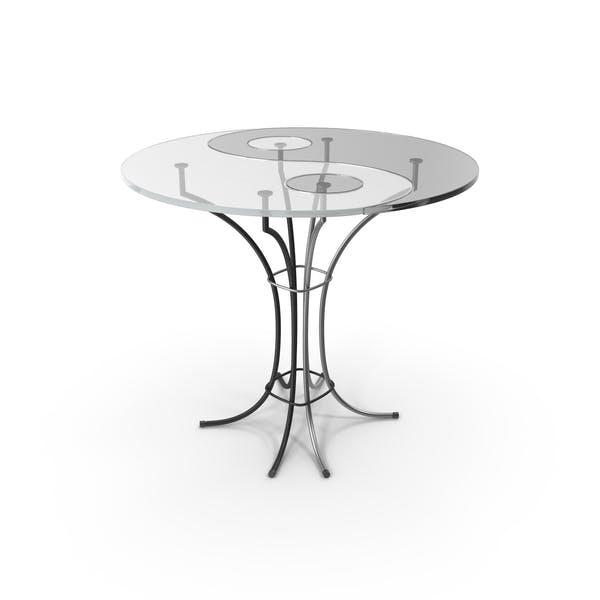 Mesa de cristal blanco y negro
