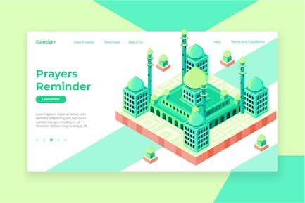 Mosque Isometric - Banner & Landing Page