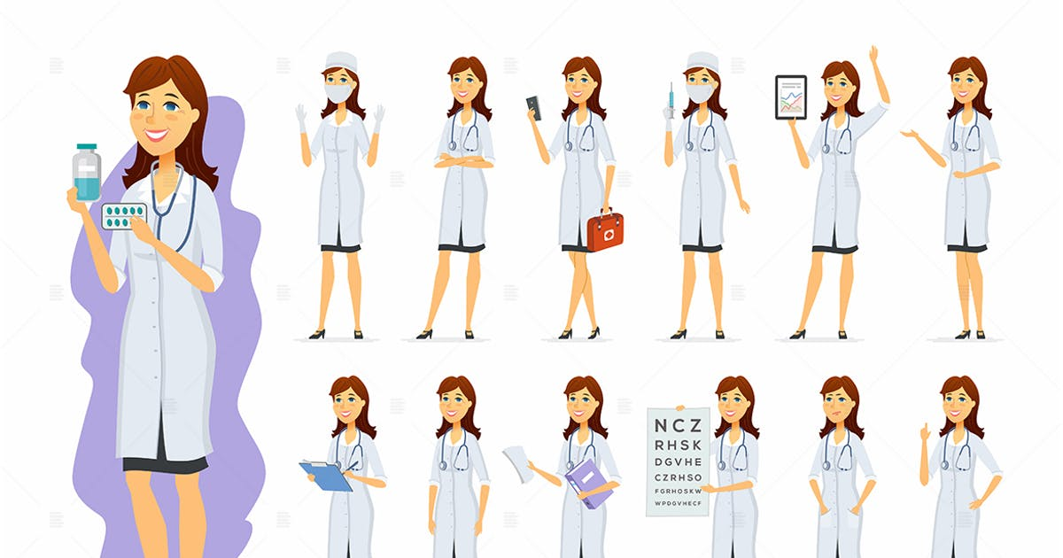 Download Female doctor - cartoon people character set by BoykoPictures