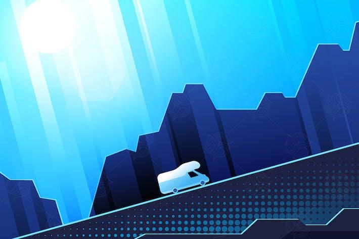 Thumbnail for Una furgoneta que va hacia arriba - ilustración plana en Tono azul