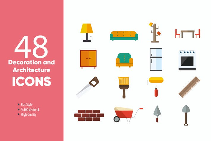 Thumbnail for Decoration and Architecture Flat Icons