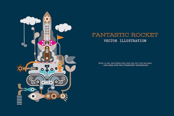 Thumbnail for Fantastic Rocket vector illustration