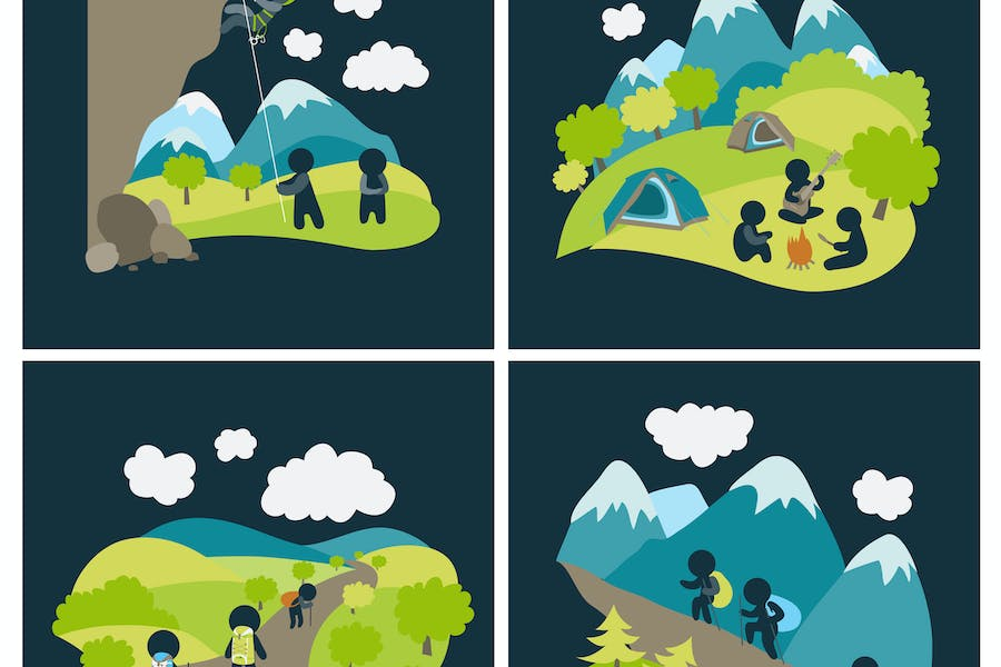 Set of vector lat style outdoor leisure pictures.
