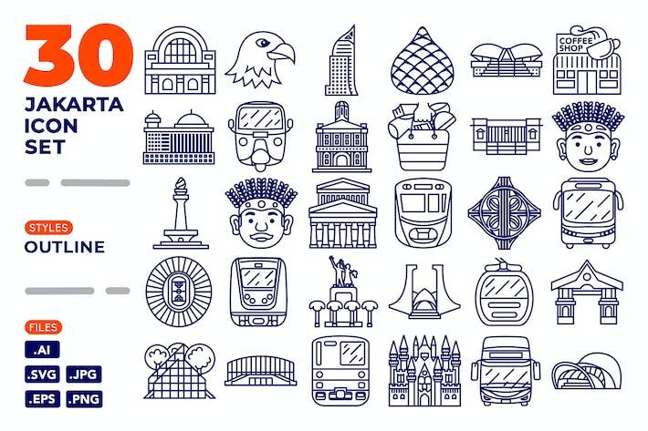 Thumbnail for Jakarta Icon Set (Outline)