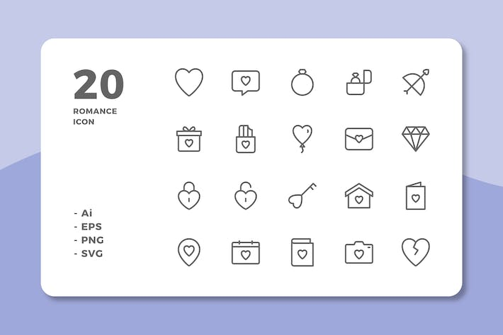 Thumbnail for 20 Romance Icons (Line)
