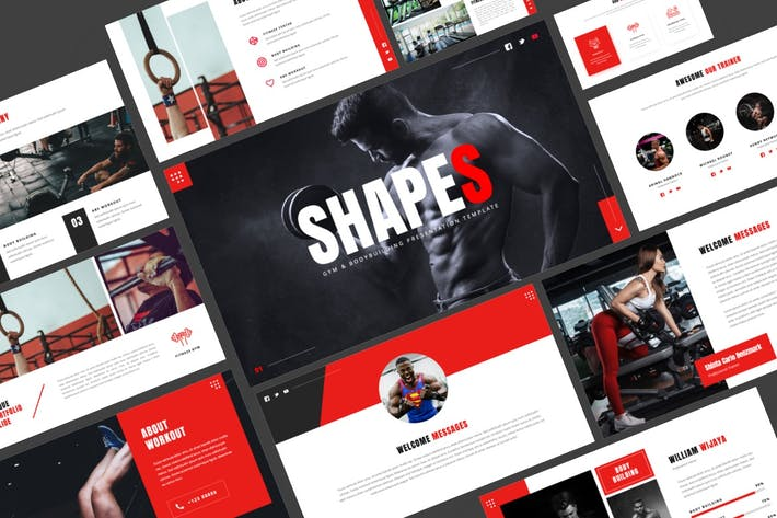 Thumbnail for Shapes - Gym & Bodybuilding Keynote Template