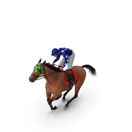 Gallop Bay Racing Horse with Jockey Fur