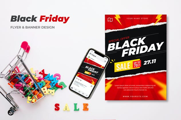 Black Friday Sale Flyer & Banner Design