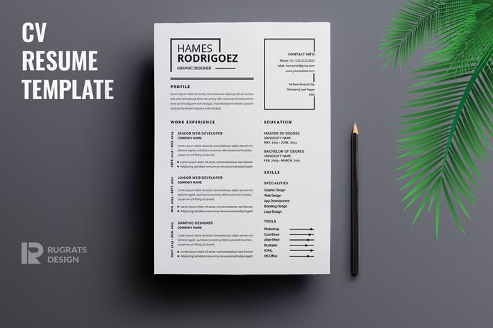 Thumbnail for Minimalist CV  Resume R24 Template