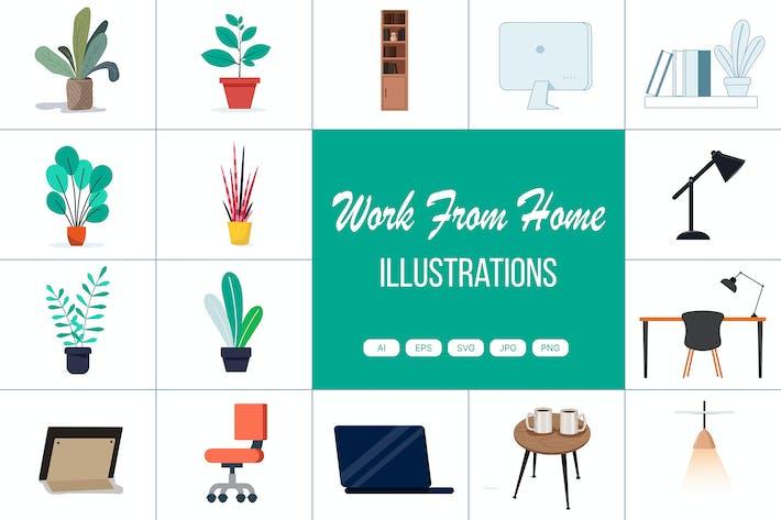 Arbeiten von zu Hause aus Illustrationen