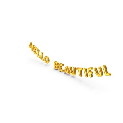 Foil Balloon Words Hello Beautiful Gold