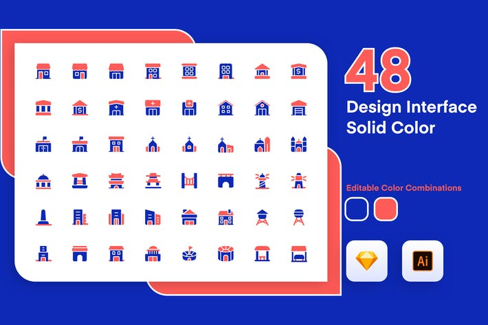 Thumbnail for Building Solid Color Icon Set