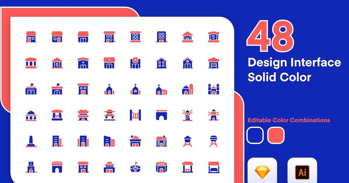 Download Building Solid Color Icon Set by sudutlancip