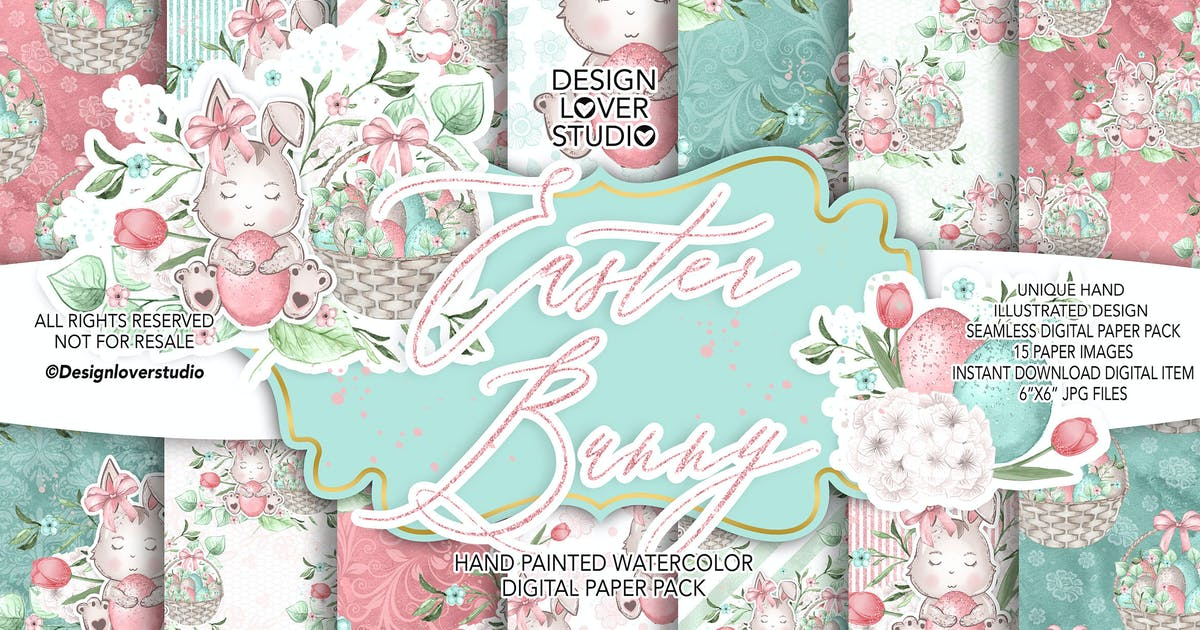Download Sweet Easter Bunny digital paper pack by designloverstudio
