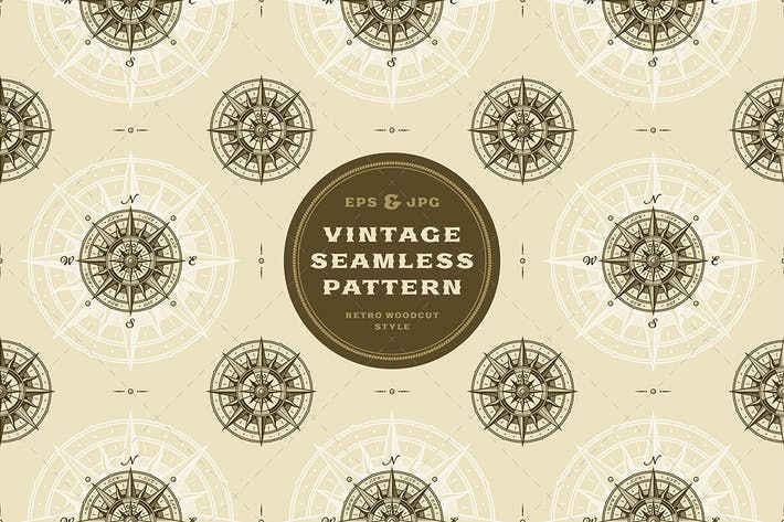 Thumbnail for Seamless vintage nautical compass rose pattern