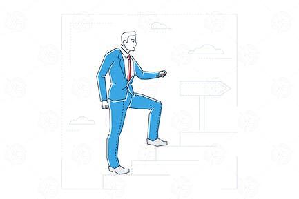 Escalera de carrera - ilustración de estilo de Diseño de línea