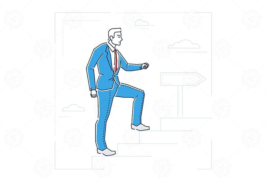 Karriereleiter - Linie Design Stil Illustration