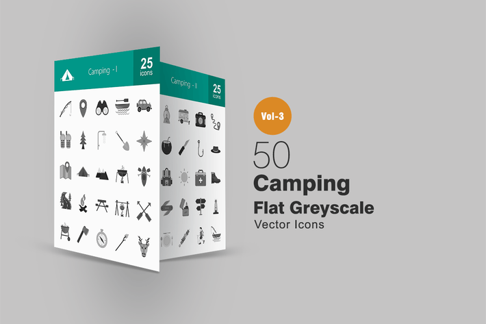 Thumbnail for 50 Camping Greyscale Icons