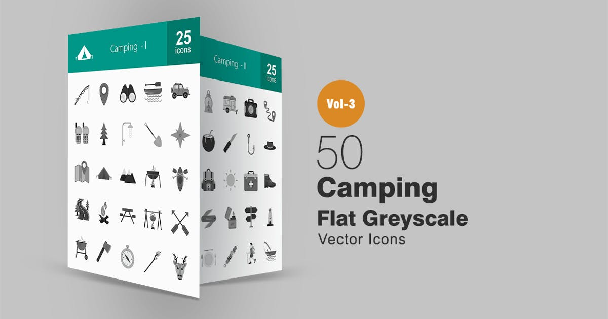 Download 50 Camping Greyscale Icons by IconBunny