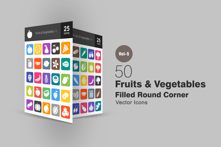 Thumbnail for 50 Fruits & Légumes Plat Coin Rond Icones