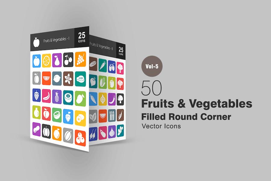 50 Fruits & Vegetables Flat Round Corner Icons
