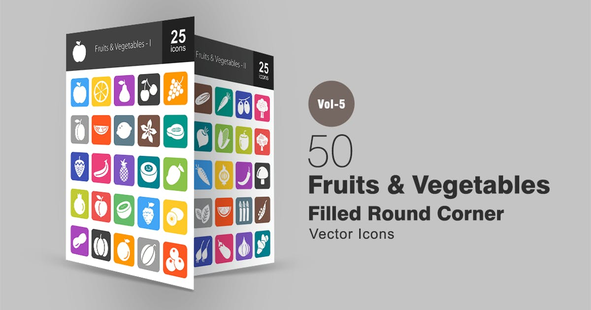 Download 50 Fruits & Vegetables Flat Round Corner Icons by IconBunny