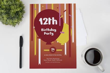 Baloon Party Birthday Invitation