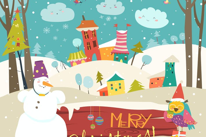 Vector christmas greeting card with little town