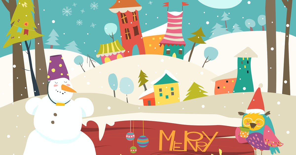 Vector christmas greeting card with little town by masastarus