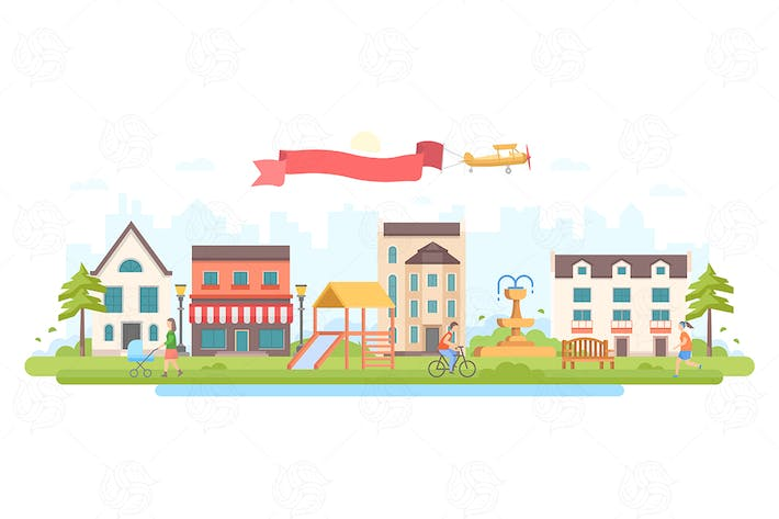 Thumbnail for City park - flat design style vector illustration
