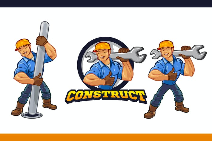 Thumbnail for Friendly Muscular Construction Worker Mascot Logo