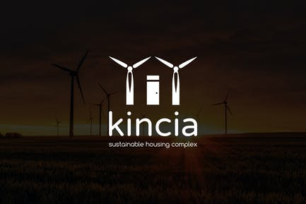 Kincia : Negative Space Green Energy Logo