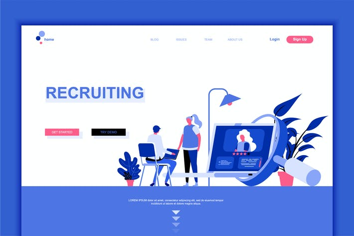 Thumbnail for Recruiting Flat Landing Page Template
