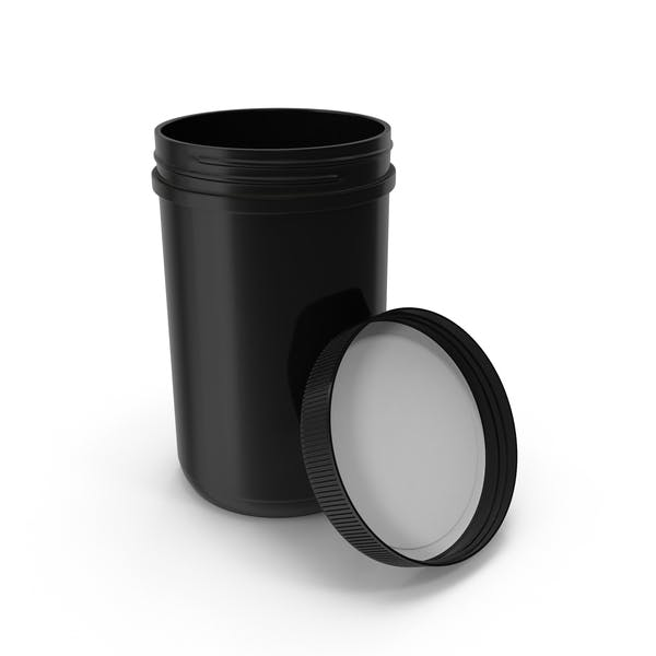 Plastic Jar Wide Mouth Straight Sided 40oz Open Black