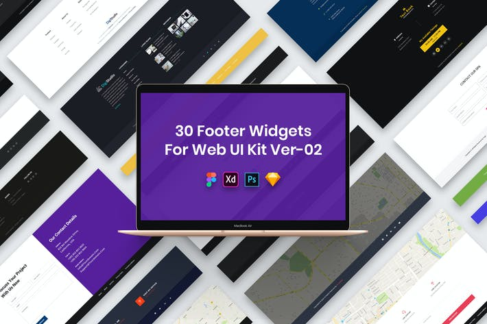Thumbnail for 30 Footer Widgets for Web UI Kit Ver-02