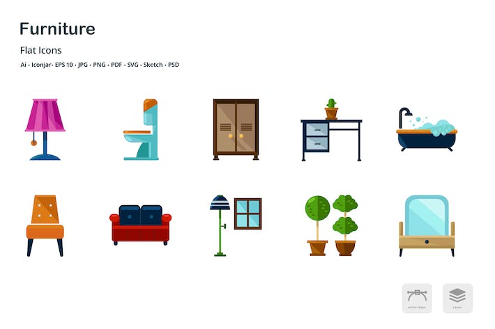 Thumbnail for Interior Design Furniture Flat Colored Icons